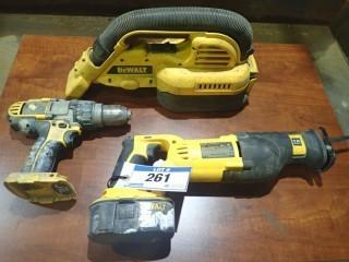 Dewalt 18 Volt Cordless Drill, Sawzall, Vacuum