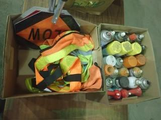 Qty Of Safety Vest, (2) Stop/Slow Signs, Assortment Of Spray Cans