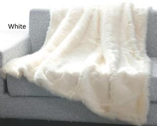 De Moocci Luxury Tip Dye Reversible Faux Fur Throw - 50 in x 60 in - White