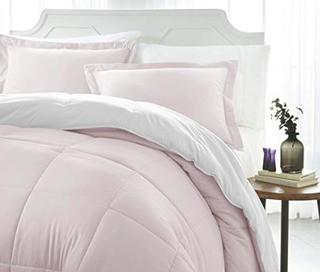 iEnjoy Home Collection Down Alternative Reversible Comforter Set -King -Blush/White