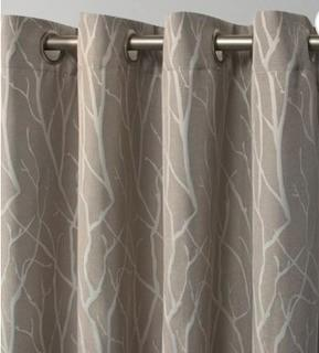 "Prower Patio Woven Blackout Thermal Grommet Single Curtain Panel, Natural, 108x84"", 2PC"