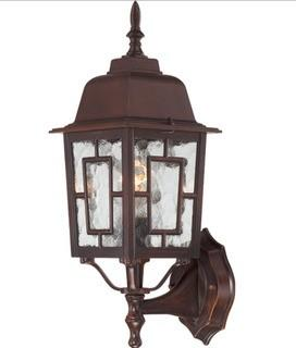 "Nuvo 1-Light 17"" Outside Wall Lights in Rustic Bronze Finish with Clear Water Glass"