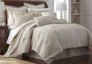 Amrapur Overseas 38EMBCFB-SAM-KG 8 Piece Comforter Set Samantha King, Ivory