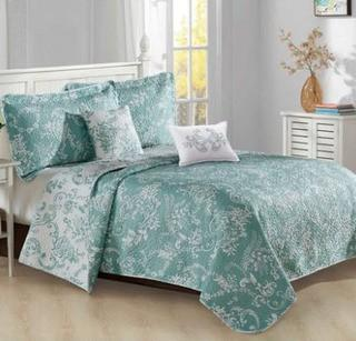 Andover Mills Rae Quilt Set, King, Teal