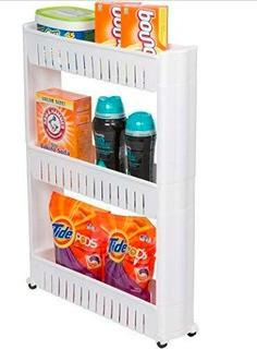 Slim Slide Out Storage Tower  28'' H x 5'' W x 21'' D