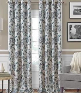 "Sorrento Floral/Flower Room Darkening Thermal Grommet Single Curtain Panels, 52x84"" 2PC"