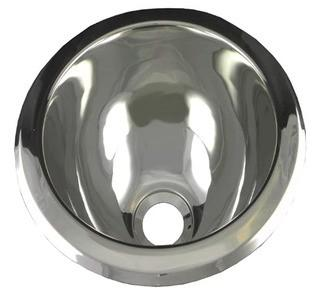 """Opella 10"""" L x 10"""" W Round Bar Sink, Polished Stainless Steel"""