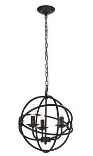 "Elegant Lighting LD4006D14 Octavia 3 Light 14"" Wide Taper Candle Pendant, Dark Brown"