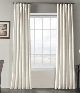 Vintage Textured Faux Dupioni Silk Curtain, 50 x 120, Off White, 2PK