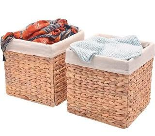 "StorageWorks Water Hyacinth Storage Woven Basket with Linen Lining, Foldable Wicker Storage Baskets Organizer, Large, 12.2""x12.2""x12.2"",5PC"
