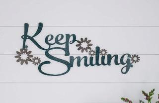 Keep Smiling Metal Wall Decor  10'' H x 21.75'' W