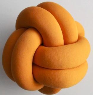 """Juju & Jake Medium Knot Throw Pillow, Mustard Yellow 10x10"""""""