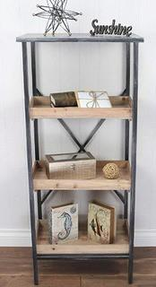 Cheung's Storage Rack Metal 4 Tier Shelf with 3 Wooden Shelves