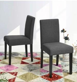 Hemington Upholstered Dining Chair, Set Of 2, Dark Grey