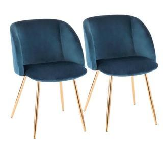 Chu Upholstered Dining Chair, Set Of 2, Blue/Gold