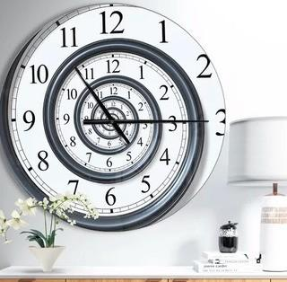 Designart Time Spiral Analogue Wall Contemporary Wall Clock 38""
