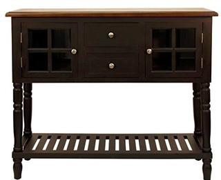Decarlo Console Table Eased Edge Black with Natural Top 34.25'' H x 42'' L x 14'' D