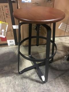 Adjustable Height Bar Stool Metal/Wood