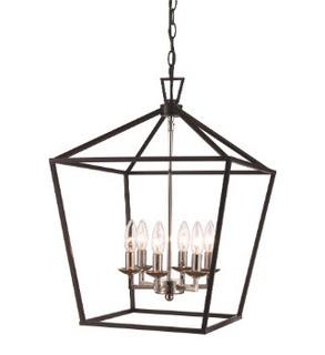 Carmen 6-Light Foyer Pendant, Black/Polished Chrome