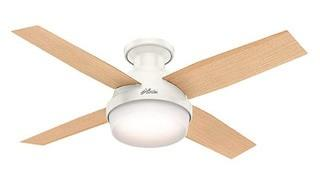 Hunter Fan Company 59244 Dempsey Reversible Blades Low Profile Fresh White Ceiling Fan With Light & Remote, 44""