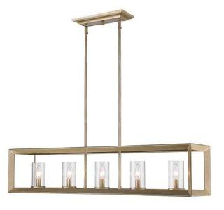 Thorne Modern 5-Light Kitchen Island Pendant White Gold/Clear Glass