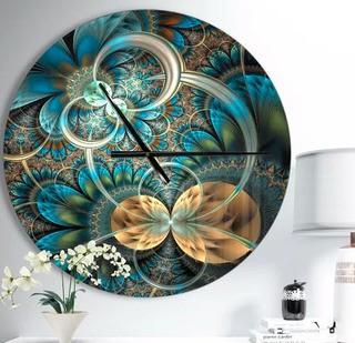 """Designart Symmetrical Fractal Flower Modern Wall Clock 38"""""""