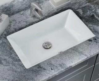Glazed Vitreous China Rectangular Undermount Bathroom Sink with Overflow, White 18.5'' L x 11'' W x 5'' D
