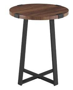 "18"" Rustic Urban Industrial Wood and Metal Wrap Round Accent Side Table - Dark Walnut"