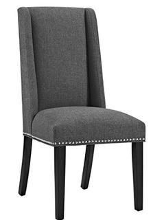 Florinda Wood Leg Upholstered Dining Chair, Grey