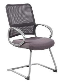 Boss Office Products B6419-CG Mesh Back with Pewter Finish Guest Chair, Grey