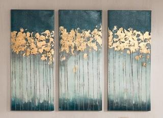 Coat Canvas Wall Art with Gold Foil Embellishment 3-Piece Set, Individual Piece 35'' H x 15'' W x 1.5'' D