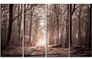 Forest Trail in Sepia' 4 Piece Photographic Print on Wrapped Canvas Set, Overall 28'' H x 48'' W x 1'' D