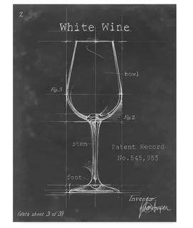 Barware Blueprint IV' Watercolor Painting Print on Wrapped Canvas 26x18""