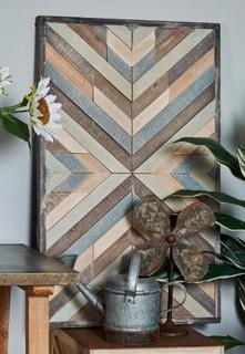 Rustic 'Chevron' Framed Graphic Art Print on Wood 20x32""