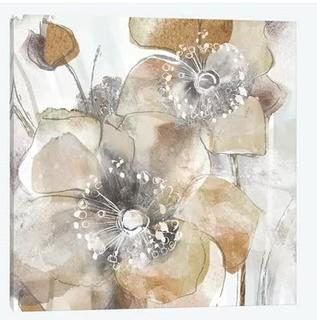 Taupe Spring Poppy II' Oil Painting Print on Wrapped Canvas 24x24""