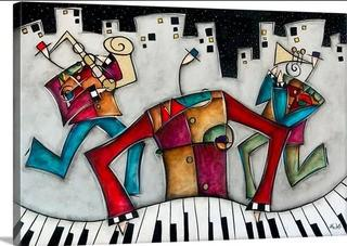 Silver City Jazz' by Eric Waugh Painting Print on Canvas 32x48""