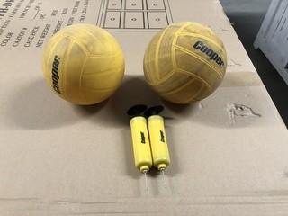 Lot of Beach Balls w/Hand pumps, Ping Pong Balls, Badminton/Tennis Sets