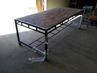 "Dining Table on Wheels 86"" x 39"" x 31"""