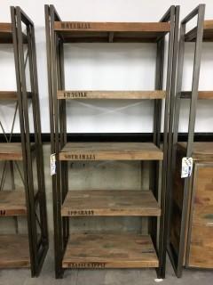 "Ocean Book Rack 5 Shelves 82"" x 36"" x 16"""