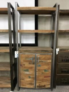 "Recycled Boat Wood Cabinet 3 Shelves 2 Doors 82"" x 35"" x 16"""