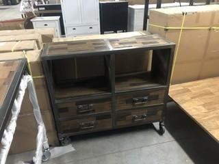 "High Dresser 4 Drawers 2 Shelves 47"" x 16"" x 43"""
