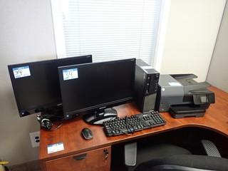 Lenovo Thinkcenter Desktop Computer w/2 Samsung S24C230L Flatscreen Monitors, HP Officejet 6812 Multi-Function Printer, Keyboard and Mouse. **NOTE: NO HARDDRIVE, LOCATED IN MILK RIVER**