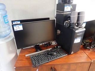 Asus Desktop Computer w/ 2 Samsung S24D590L Flatscreen Monitors, Subwoofer, 4 Speakers, Keyboard and Mouse. **NOTE: NO HARDDRIVE, LOCATED IN MILK RIVER**