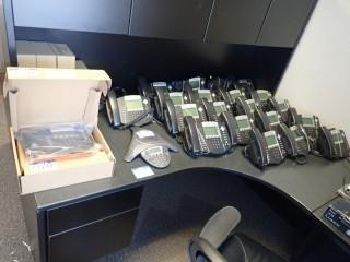 Polycom Telephone System w/20 SoundPoint IP550 Handsets, 3 SoundPoint IP550 Handsets-NEW AND UNUSED and SoundStation IP6000 Conference Phone. **LOCATED IN MILK RIVER**