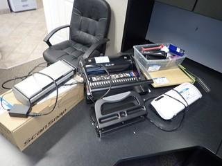 Lot of Fujitsu S1300i Scan Snap, Swingline GBC C20 Combbind, Staples Laminator, Paper Cutter, etc. **LOCATED IN MILK RIVER**