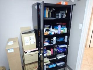 Lot of Enclosed Storage Cabinet, Asst. Office Supplies including Binders, Paper, Clipboards, File Folders, etc. **LOCATED IN MILK RIVER**