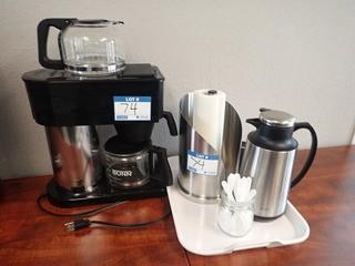Lot of Bunn Coffee Maker, Carafe, Paper Towel Holder, etc. **LOCATED IN MILK RIVER**