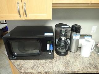 Lot of Danby Microwave, Oster Coffee Maker, Carafe, Toaster and Electric Kettle. **LOCATED IN MILK RIVER**