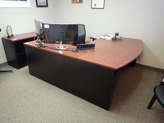 L-Shaped Executive Desk w/ Credenza, 2 Side Chairs, End Table and Coat Tree. **LOCATED IN MILK RIVER**