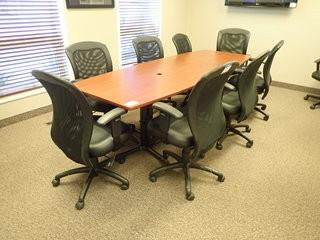 Lot of Boardroom Table and 8 Task Chairs. **LOCATED IN MILK RIVER**